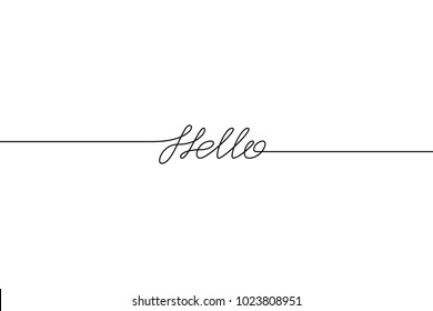 HELLO handwritten inscription. Hand drawn lettering. alligraphy. One line drawing of phrase. Vector illustration