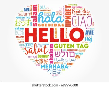Hello Heart word cloud in different languages of the world, background concept