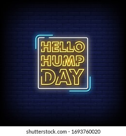 Hello Hump Day Neon Signs Style Text Vector