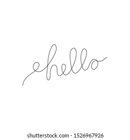 Hello inscription continuous line drawing, hand lettering small tattoo, print for clothes, emblem or logo design, one single line on a white background, isolated vector illustration.