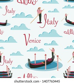 Hello, Italy, Venice. Gondolas and gondolier. Seamless pattern. Invitation to travel to Italy. Italian male profession. Design elements for the background of the site, tourist poster, textiles.