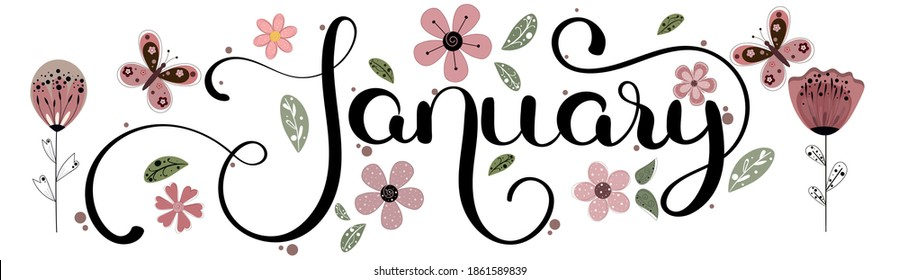 Hello JANUARY. January month vector with flowers, butterflies and leaves. Decoration text floral. Hand drawn lettering. Illustration January
