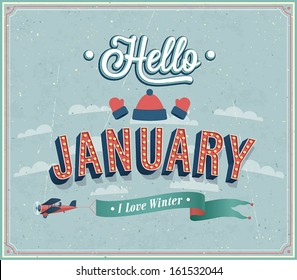Hello january typographic design. Vector illustration.