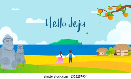 Hello Jeju poster vector illustration. Beautiful mountain Hallasan with meadow and couple in Korean traditional hanbok costume.