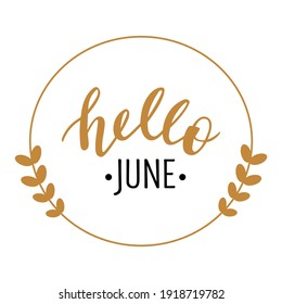 Hello June hand drawn lettering logo icon. Vector phrases elements for cards, banners, posters, mug, scrapbooking, pillow case, phone cases and clothes design.