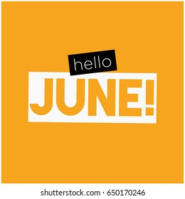 Hello June Typography Flat Style Design