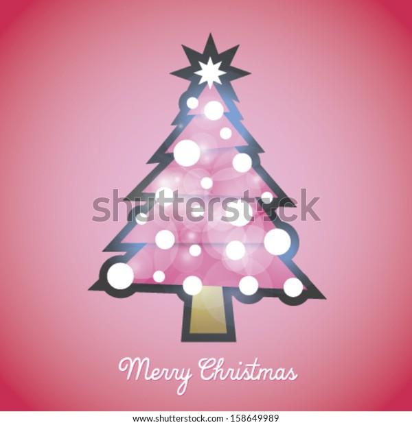 Hello Kitty Christmas Tree.Hello Kitty Christmas Tree Pink Vector Stock Vector Royalty