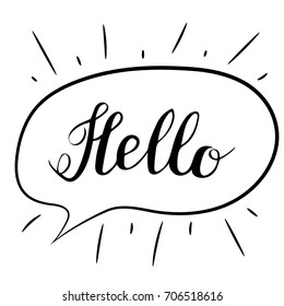 Hello lettering. Handwritten brush calligraphy. Hello text in a speech bubble. Vector isolated illustration on a white.