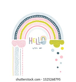 Hello little one handwritten vector lettering. Abstract decorative rainbow color flat illustration. Dotty round raindrops, textured cloud, bow and text. Cartoon scribble, circle drops drawing and