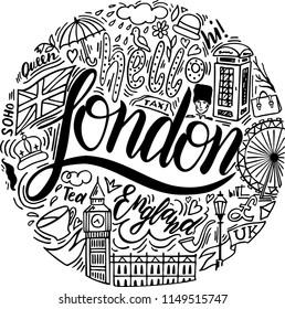 Hello London. Lettering. London doodle set. Popular English landmarks, food and attractions. Sketch Big Ben. England. Vector.