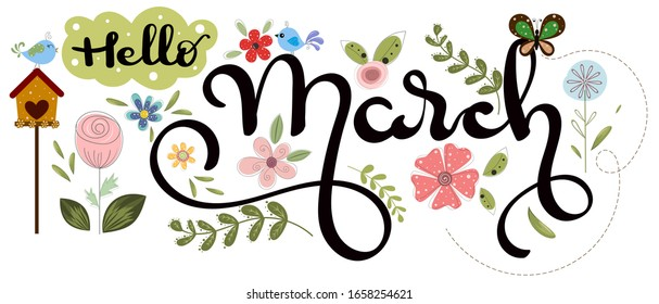 Hello March. March month vector with flowers, birds, butterflies and leaves. Decoration floral. Illustration month march