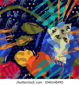 Hello, Matisse! Abstract seamless pattern. Still life, table, vase, apples, expression, wind, painting.