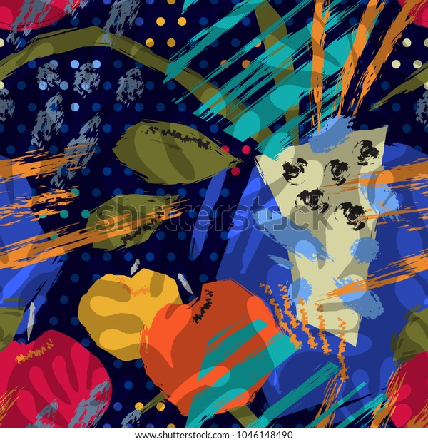 Hello Matisse Abstract Seamless Pattern Still Stock Vector