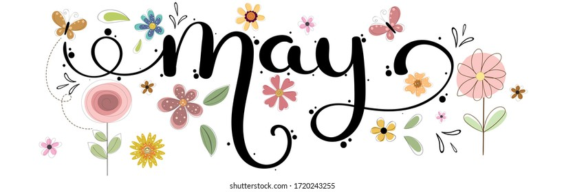 Hello May hand lettering card. MAY month vector with flowers, birdhouse and leaves. Decoration floral. Illustration month may background