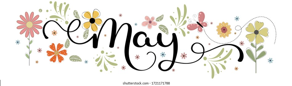 Hello May. MAY month vector with flowers, birdhouse and leaves. Decoration floral. Illustration month may