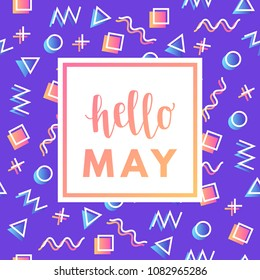 Hello may sale banner for online shopping with discount offer. Promotional email trendy modern design poster.