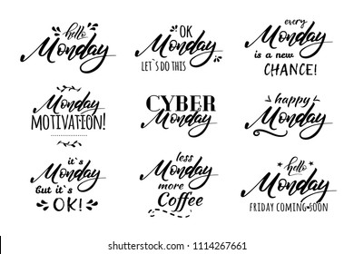 Hello Monday. Ok Monday let s do this. Less Monday more coffee.Cute funny hand drawn lettering. Social media typography content. Fun for calendar template, planner, journal