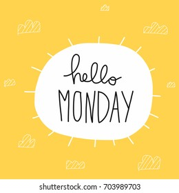 Hello Monday word and sun shape vector illustration
