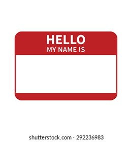 Hello, my name is introduction red flat vector label for print