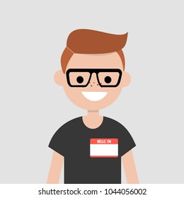 """""""Hello, my name is"""" badge. Portrait of young character introducing himself/ Flat editable vector illustration, clip art"""