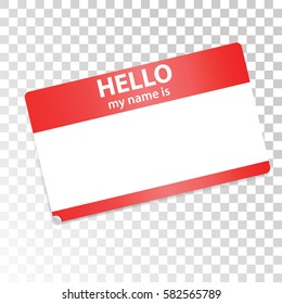 Hello, my name is. Red-white sticker on transparent background. Isolated design element for web, print, advertising. Vector stock. Eps 10