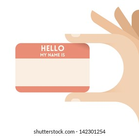 """""""Hello, my name is"""" sticker or personal business card in human hands. Idea - Personal Identify card on web site. Enjoy!"""