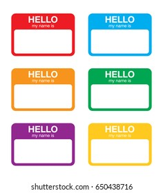 """Hello my name is"" sticker label set. Vector."