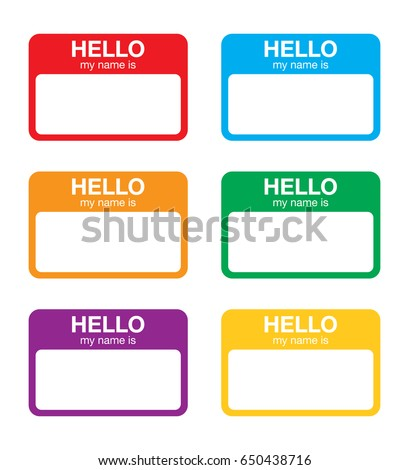 Hello My Name Is Sticker Label Stock Vektorgrafik