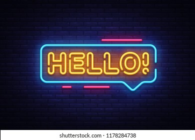 Hello Neon Text Vector. Hello neon sign, design template, modern trend design, night neon signboard, night bright advertising, light banner, light art. Vector illustration