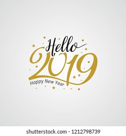 Hello New Year 2019 golden typography. Greeting card design with hand lettering for winter holidays. Vector illustration