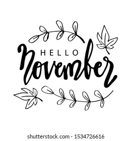 Hello November hand lettering. Poster, postcard, greeting card.