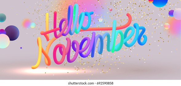 Hello November lettering   Autumn festive placard cover template