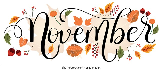 HELLO NOVEMBER. November month vector hand lettering with flowers and leaves. Floral decoration text. Decoration letters, Illustration November.