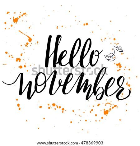 hello november template modern hand lettering stock vector royalty