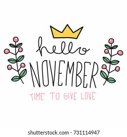 Hello November Word And Flower Wreath Cartoon Vector Illustration Doodle  Style