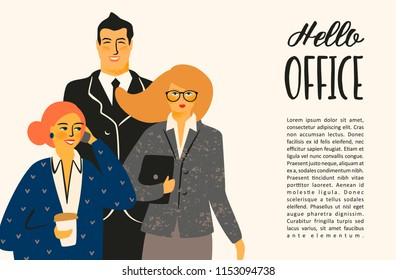 Hello office. Vectior illustration with office workers. Design template.