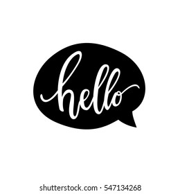 Hello Quote Message Bubble. Calligraphic Simple Logo / Introduction Style.  Vector Illustration. Simple