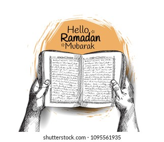 Hello Ramadan Mubarak free hand drawing sketch of hand opening holy quran with orange round brush . Vector illustration for ramadan celebration