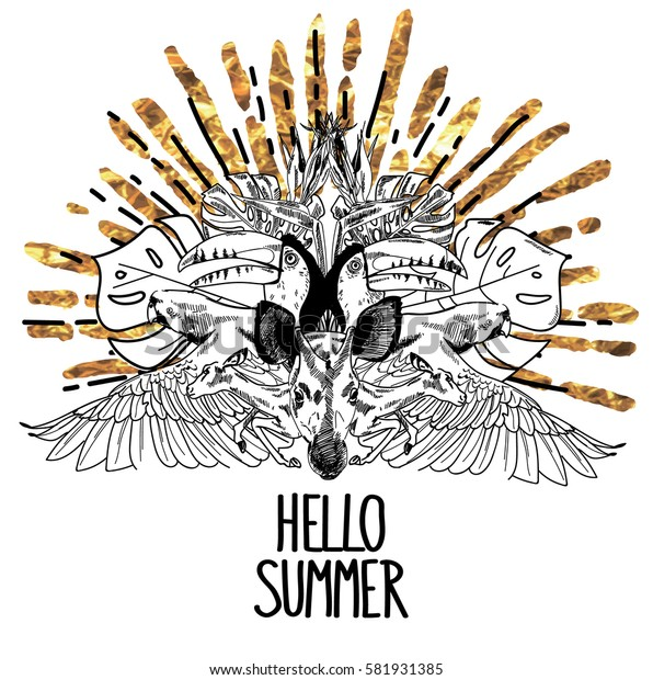 Hello sammer. Stylish print in a tropical style. Parrots, toucans, antelope. Tropical plants and flowers. Drawing by hand in vintage style. Drops of ink.