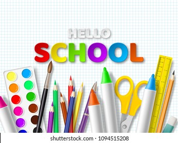 Hello school typography design with realistic school supplies. Paper cut style letters on squared paper background. Vector illustration.