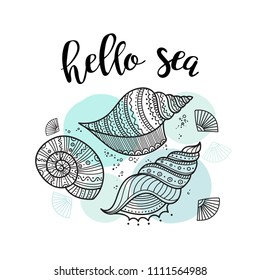 Hello sea greeting card with shells in boho style with ornaments. Can be printed and used as invitation, poster, placard, etc