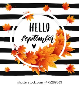 Hello september autumn flyer template with lettering. Bright fall leaves. Poster, card, label, banner design. Vector illustration EPS10