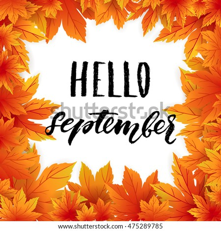 hello september autumn flyer template lettering stock vector