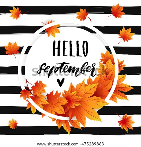 hello september autumn flyer template lettering のベクター画像素材