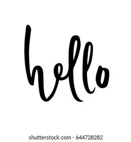 Hello sign. Calligraphic hand written hello script. Vector illustration.