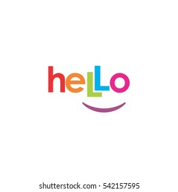 hello smile greeting  logo vector