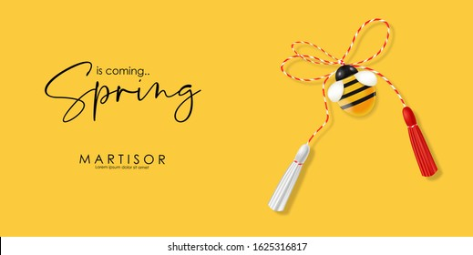 Hello spring, 1 march, 8 march,  realistic martisor with bee, spring symbol red and white, yellow march banner, season decoration vector illustration