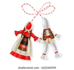 Hello spring, 1 march, 8 march,  realistic martisor with national costume, spring symbol, red and white march banner, season decoration vector illustration