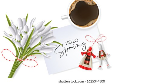 Hello spring, 1 march, 8 march,  realistic martisor with national costume, spring symbol, red and white march banner, season decoration, realistic coffee and snowdrop vector illustration