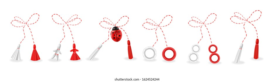 Hello spring, 1 march martisor red and white big set isolated, spring symbol realistic vector illustration